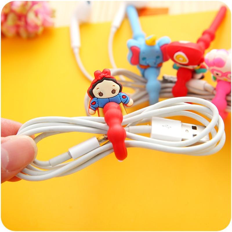 100PCS/lot Princess/Cat/ Bear Model Cord Holder Long Cable Winder Headphone Earphone Organizer Wire Holder for USB Data Line