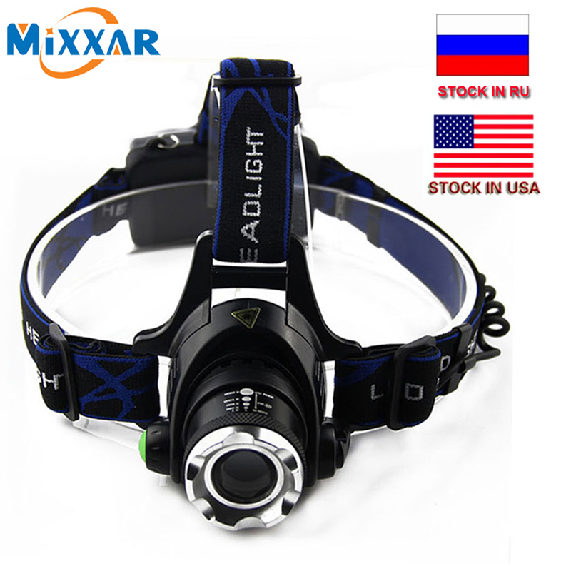 Dropshipping Hunting Headlamp T6 Waterproof Headlight Zoomable Focus Rechargeable Fishing Camping Head Lamp Lights Lanterna
