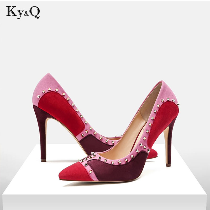 7e649600e1e Summer Women Rivet Pointed Toe Pumps Wine Red Shoes Multi Colored Lady  Celebrity Party Weeding Sandals High Heels Famous Scarpin