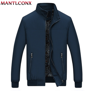 Image 1 - MANTLCONX 2020 New Spring Casual Brand Mens Jackets and Coats Stand Collar Zipper Male Outerwear Men Jacket Black Mens Clothing