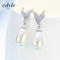 Cdyle Crystals Elegant Dangle Earrings Fashion Women Earrings Chic Long Chain S925 Sterling Silver Jewelry Freshwater