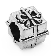 New Arrival 1PC European Style Antique Silver gift box Big Hole Bead Charms Fits Diy Pandora Imitation Bracelet Jewellery