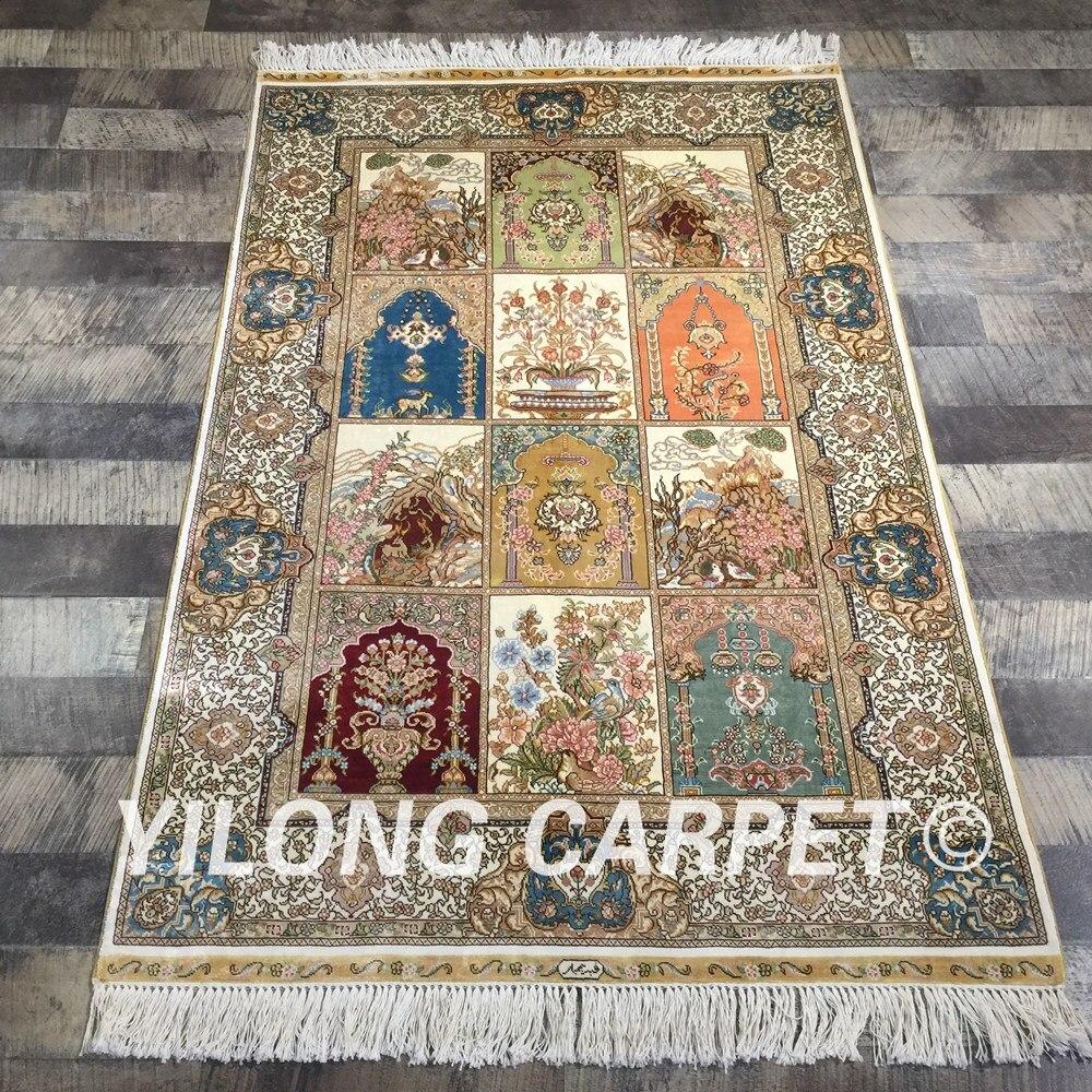 Yilong 3'x4. 5' fait à la main quatre saisons tapis persan turc Antique tapis de soie (QZT16A3x4.5)