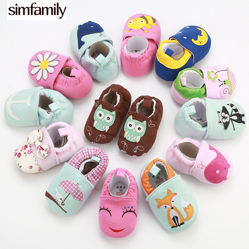 [simfamily]New Style Soft Cotton Baby Boys Girls Infant Shoes Slippers 0-6 6-12 12-18 First Walkers Skid-Proof Crib Shoes