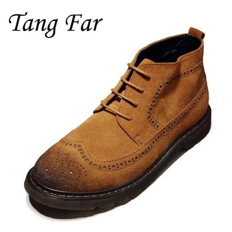 Men Ankle Boots Vintage Brogue Shoes Genuine Leather High Top Desert Boot Mens Carved Bullock Shoes Retro Botas Male men suede genuine leather boots men vintage ankle boot shoes lace up casual spring autumn mens shoes 2017 new fashion