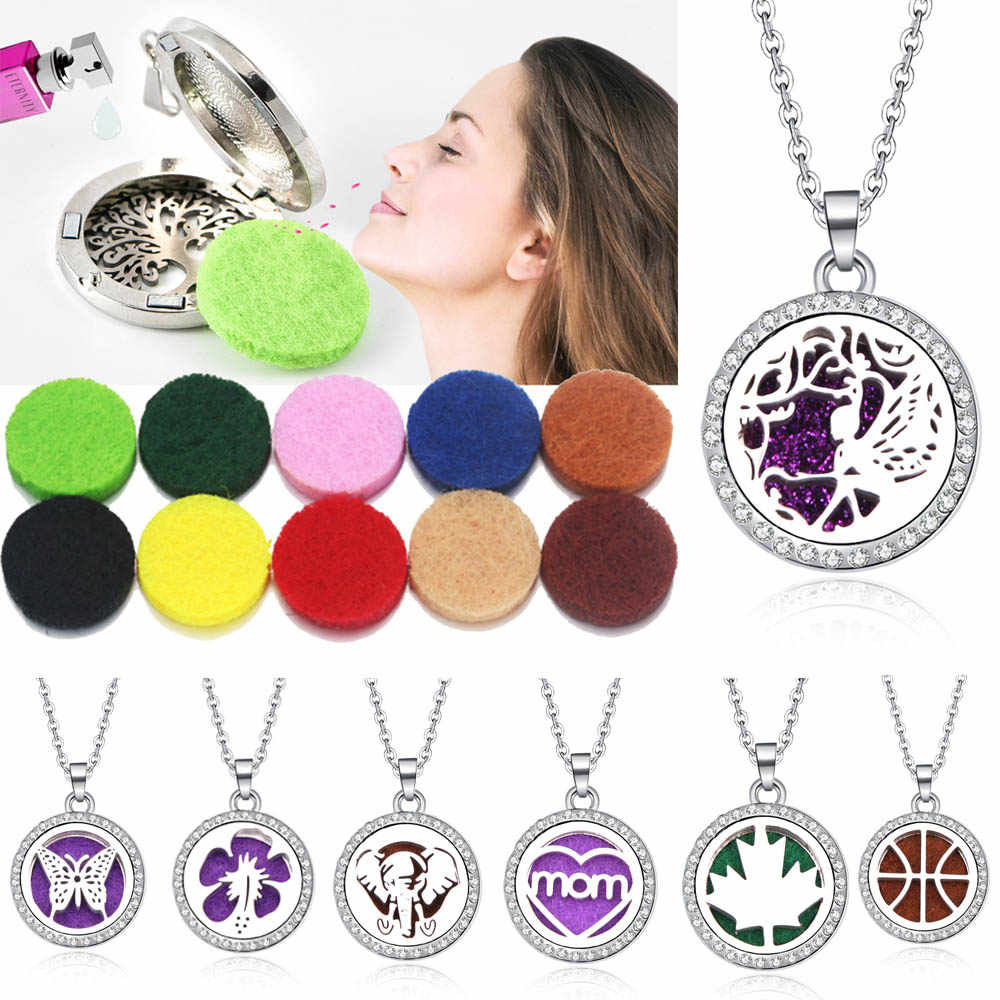 Pattern aroma Stainless Steel Aroma Box Pendant Necklace Magnetic Aromatherapy Essential Oil Diffuser Box Locket Pendant Jewelry