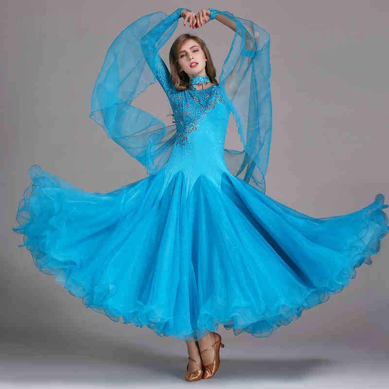 dcdbbb35fdf5 Ballroom Competition Dance Dress High Quality Lace Sleeve Flamenco Waltz  Dance Costume Women Standard Ballroom Dress