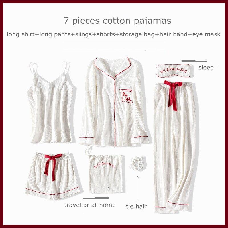 Women's pajamas cotton 7-piece sets pyjamas women's sleepwear sets autumn winter Homewear Long sleeve trousers  homewear set