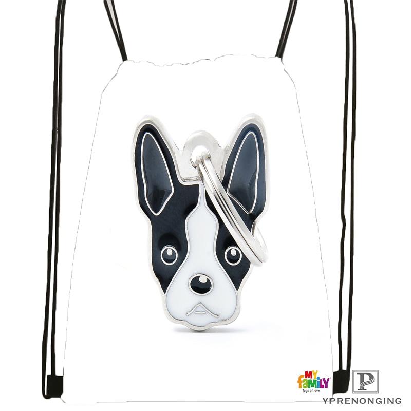 Custom Black White Dog Boston Terrier Drawstring Backpack Bag Cute Daypack Kids Satchel Black Back 31x40cm