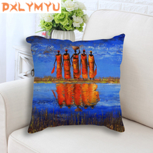 Decorative Cushion Cover African Style Oil Painting Prints Sofa Cushion Cover Cotton Linen Throw Pillows Case Chair Pillowcase miracille marine style mermaid painting pattern coffee house chair waist decorative cushion cover bedroom throw pillowcase 18
