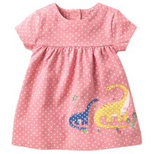 Kids Clothes Girls Dress Summer 2018 Baby Girl Cotton Short  Sleeved Dot Princess Dresses children  Animal Applique Clothing цена и фото