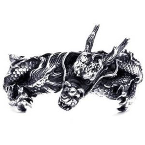 Large Heavy Stainless Steel Dragon Biker Men's Bangle Cuff Bracelet, Black Silver все цены