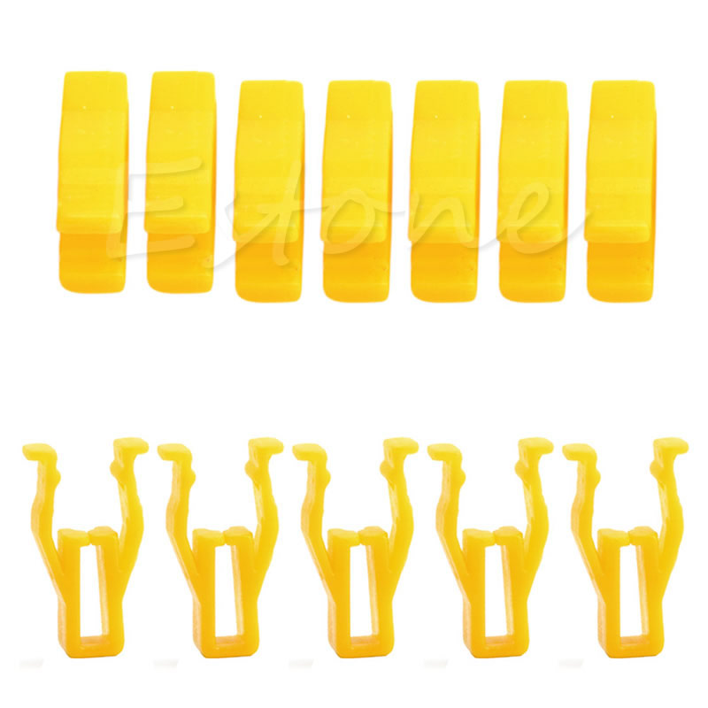 20 Pcs Auto Car Yellow Plastic Rivet 8mm Hole Hood Prop Rod Support Clip Fastener