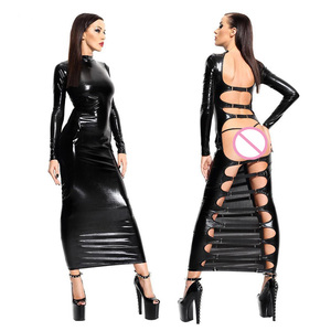 Sexy de couro preto látex mulher noite clube vestido 2018 senhoras erótico aberto volta cortar bondage catsuit clubwear fetish nightdress