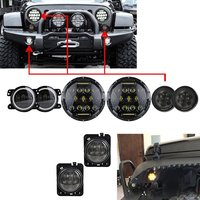 7 Black 75W LED Driving Headlight With DRL 4 INCH LED Fog Lights White Halo Ring