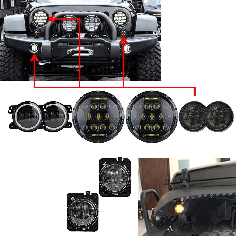 все цены на 7'' Black 75W LED Driving headlight with DRL + 4 INCH LED fog lights White halo Ring + Amber turn signal light for Jeep Wrangler онлайн