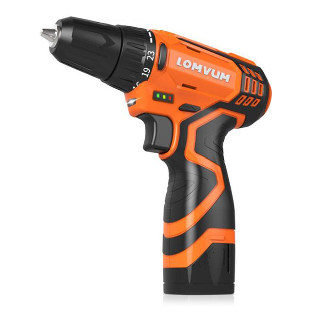 Electric Cordless Drill Screwdrivers With 2 Rechargeable Batteries Wood Working Home Power Hand Drill Household Multi-Tool