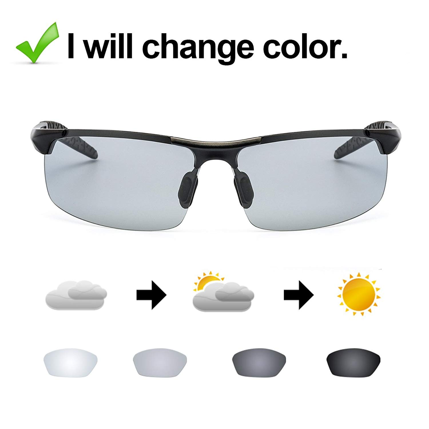 Photochromic Polarized Semi-Rimless Sunglasses Dri