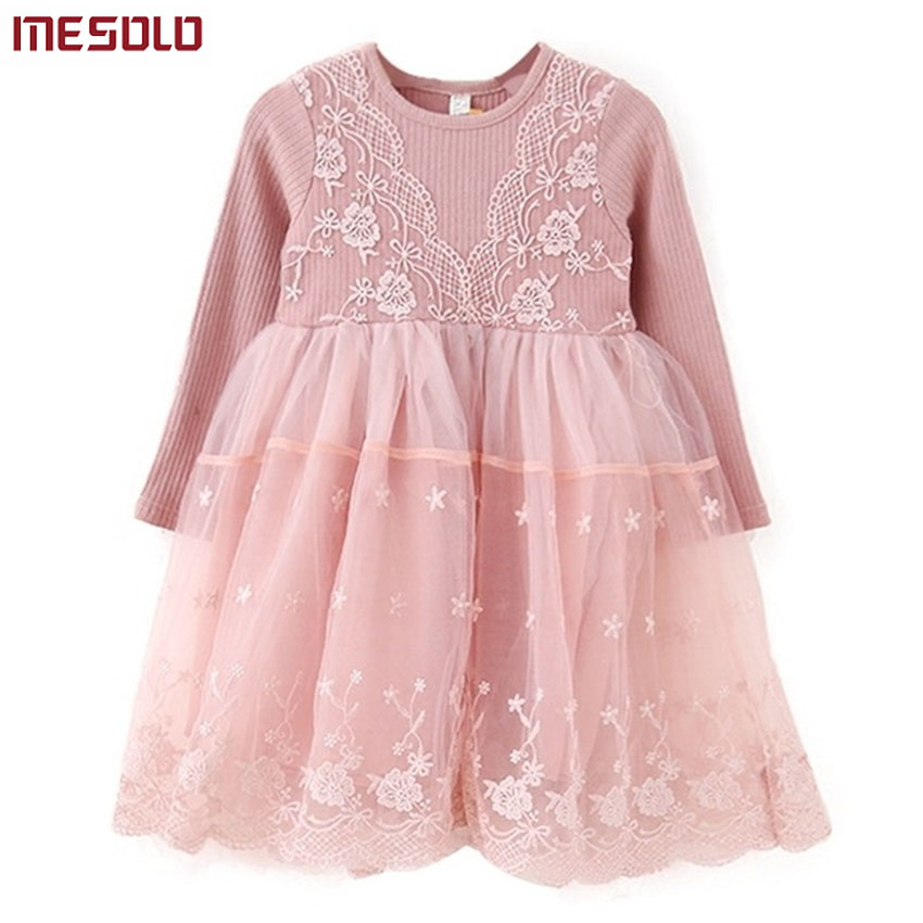 Autumn winter Girls Dress 2017 Casual Long Sleeves laceMesh Kids Dresses For Girl Autumn Clothing Cute Princess Dress girl winter dress princess dresses dot long sleeves autumn kids girls clothes children clothing girl dress