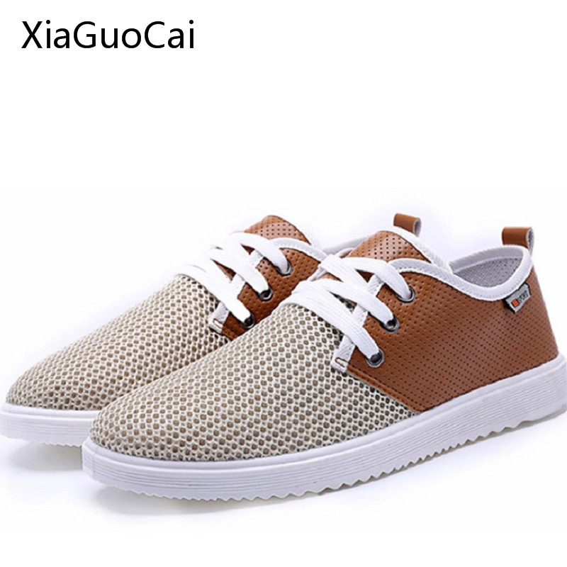 Men Mesh Casual Shoes Breathable Summer & Autumn Casual Shoes for Men Rubber Men Trainers Lace Up Flats Fashion Blue & Gray 5 men shoes summer breathable lace up mesh casual shoes light comfort sport outdoor men flats cheap sale high quality krasovki