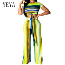 купить YEYA New Style Retro Striped Jumpsuits with Belt 2 Piece Sets O-neck Lace Up Top and Loose Pants Summer Casual Combinaison Femme дешево