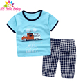 HE Hello Enjoy kids clothes boys summer 2017 boys clothing sets sky blue cartoon short sleeves print t-shirt+shorts tracksuits