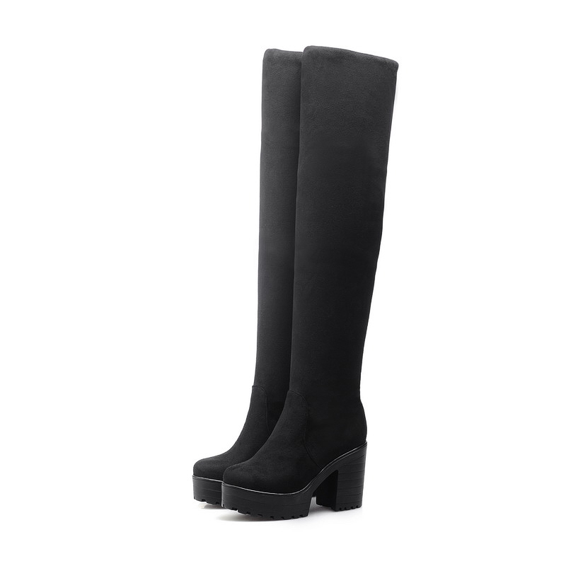 South Korean style comfortable soft sweet autumn over knee high boots platform black blue brown high-heeled women riding boots рубашка в клетку dc south ferry 2 south blue