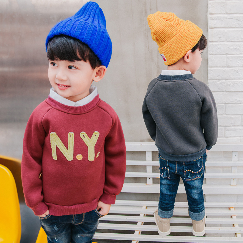 Autumn Winter Boys Sweatshirt New Letters NY Printing Plus Velvet Sweater Boys Girls Round Neck Casual Pullover 3-10 Years