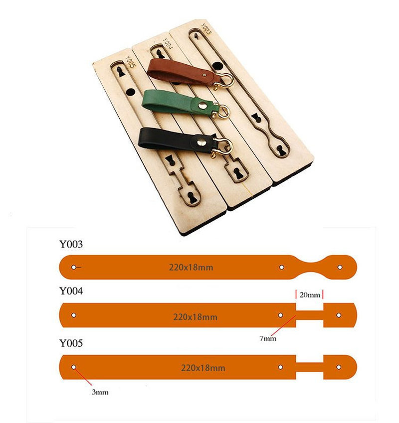 Customized Leather Cutting Die Leather Craft DIY Key Ring Wooden Template Knife Punching Tool Key Chain Cutting Mould Cutter