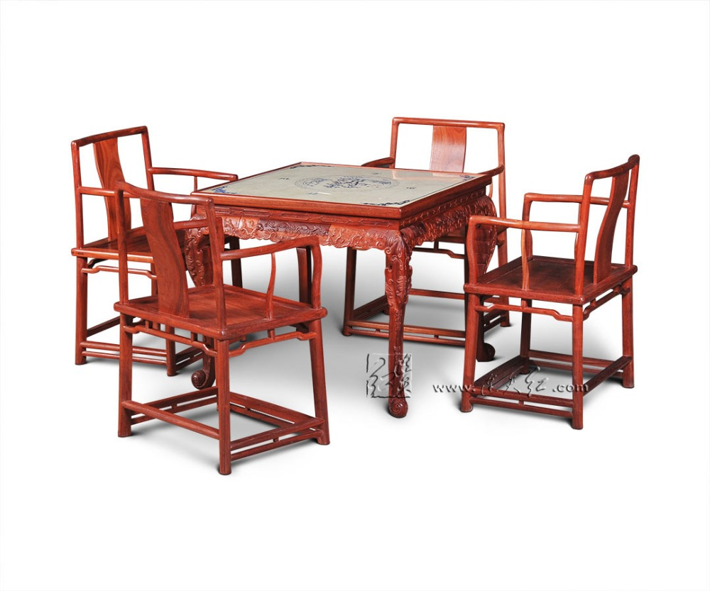 Living Room Recreation&Leisure Furniture Set Mahjong Table and Southern Mandarin Chair 5-pieces sets dual purpose China Rosewood southern enterprises montfort stationary chair in chocolate