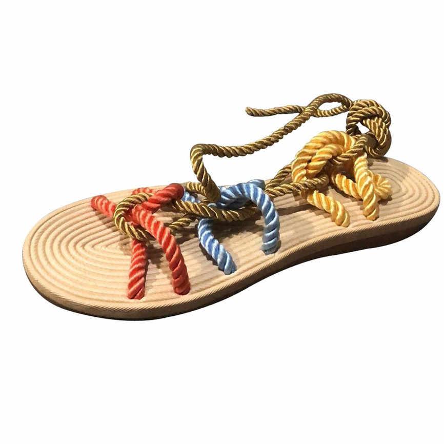 Sandalet roma plaj tarzı kadın terlik kenevir halat düz dantel plaj terlikleri burnu açık sandalet kadın ayakkabı düşük topuklu 28 #4