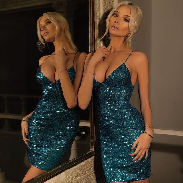Sparkly blue mini sequin cocktail dresses
