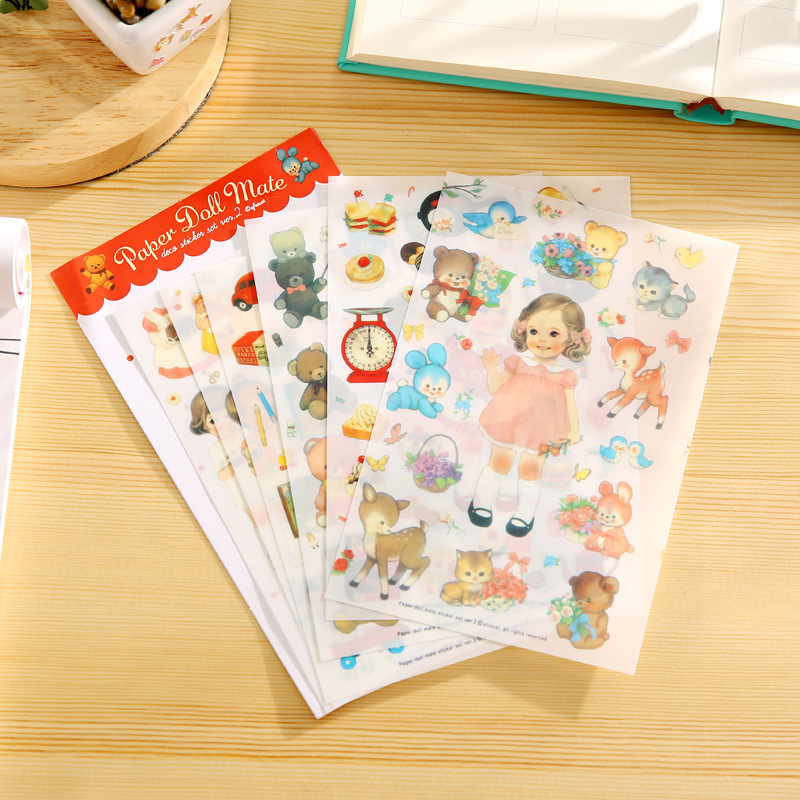 6 PCS New Translucent Lovely Stickers Paper Girls Combination Paper Doll Mate Children Notebook Stationery Decorative Stickers