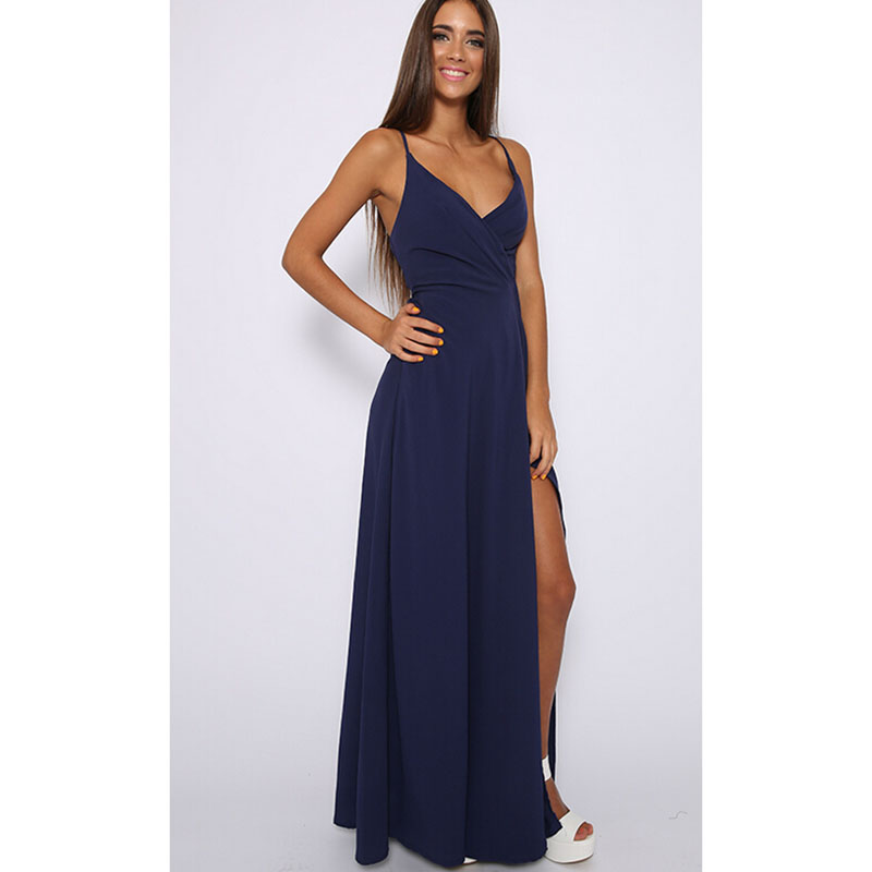 Online Get Cheap Sexy Navy Blue Prom Dresses with Split ...