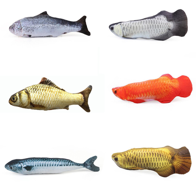 30cm Cat Favor Fish Dog Toys Plush Stuffed 3d Fish Shape Cats Toy Fish Catnip Scratch Board For Cat Toys Interactive Pet Product