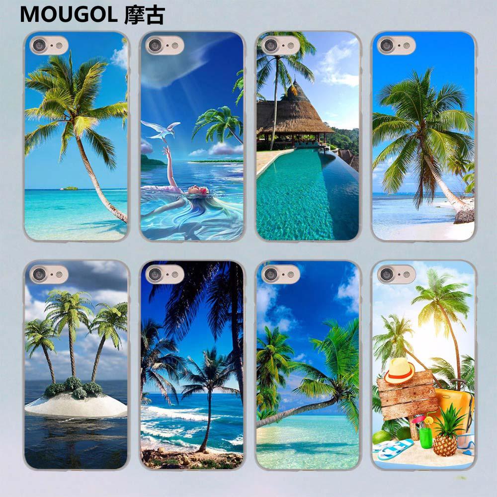 MOUGOL summer Beach Scene at Sunset on sea Palm Tree design transparent clear hard case co