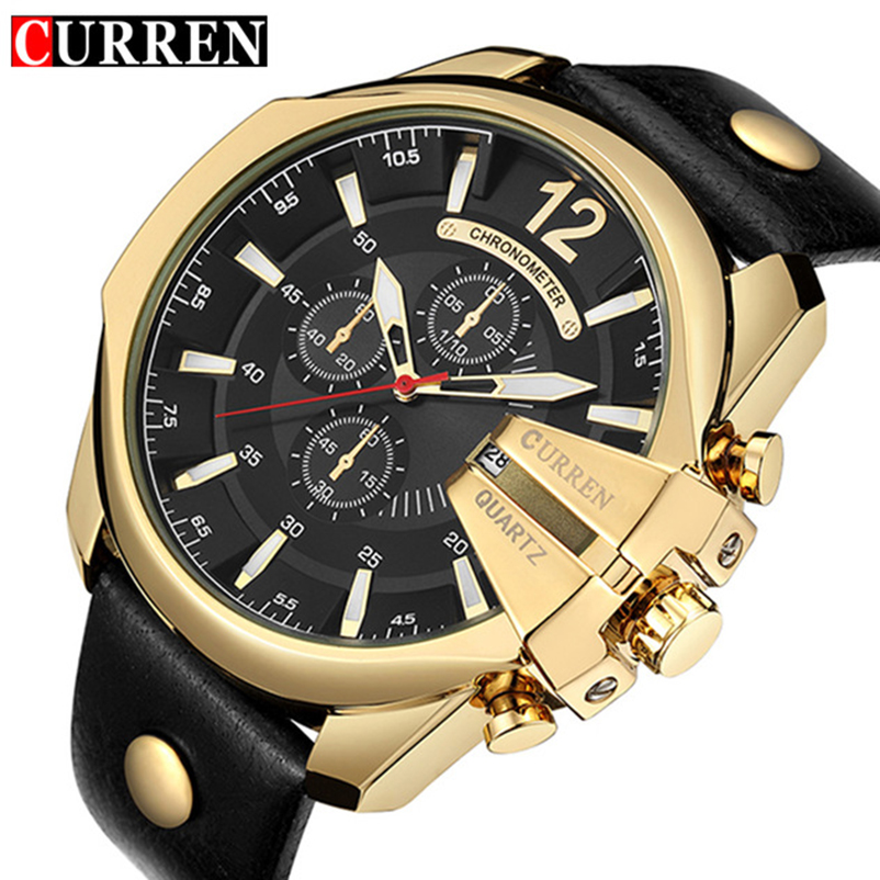 CURREN Golden Men Watches Top Luxury Popular Brand Watch Man Quartz Watches Gold Clock Men Wrist Watch Relogio Masculino 8176 curren mens watches top brand luxury relogio masculino big dial men quartz military wrist watch men clock men s watch 8176