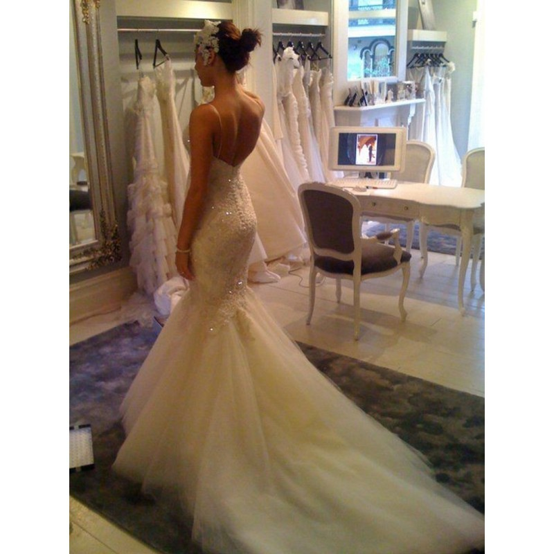 Crystal Bodice Wedding Gown: Beaded Famous Design Strapless Corset Bodice Crystals