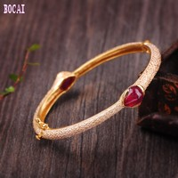 925 solid sterling silver jewelry ethnic style inlaid with natural rubies enamel women's bracelets