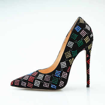 New Luxury Colorful rhinestone high heels women black shoes slip on super high heel pumps 12 cm stilettos party prom shoes woman - DISCOUNT ITEM  32% OFF All Category