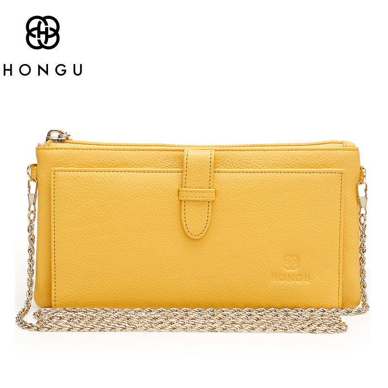HONGU Real Genuine Leather Clutch Shopping Purse Ladies Designer Chain Cross Body Messenger Bags for Girls
