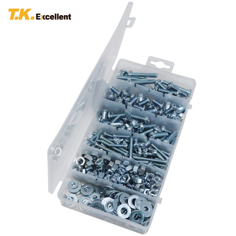 T.K.EXCELLENT 405pc/Set Stainless Steel Round Head Combo Machine Screws and Hex Nuts and Flat Washers Multi Sizes Assortment Kit 0805 0603 0402 1206 smd capacitor resistor assortment combo kit sample book lcr clip tweezer