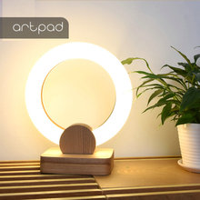 Modern Bedside Table Lamp Circle Acrylic Desktop Decoration Led Minimalist Solid Wood Stand Table Night Lamp for Office Bedroom giantex wood night stand 2 tiers 1 drawer bedside end table bedroom furniture organizer storage basket nightstands w key hw56352