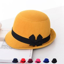 где купить Autumn and winter England new hat hat ladies bow hat sweet imitation woolen pot cap ball cap по лучшей цене