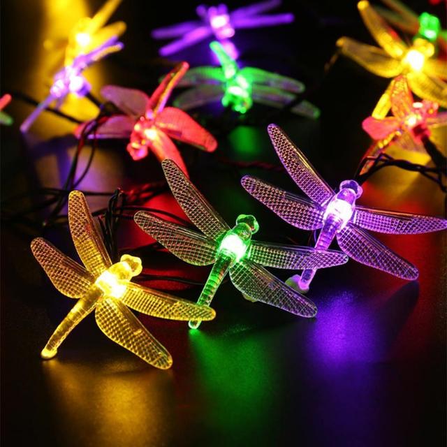 Al aire libre Solar Led luz de la Secuencia 5 M 20 Led de la libélula solar panel luz de tira IP65 Resistente Al Agua Jardín Fiesta de Navidad decoración