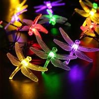 Outdoor Solar Led String Light 5M 20 Led Dragonfly Solar Panel Strip Light IP65 Waterproof Garden