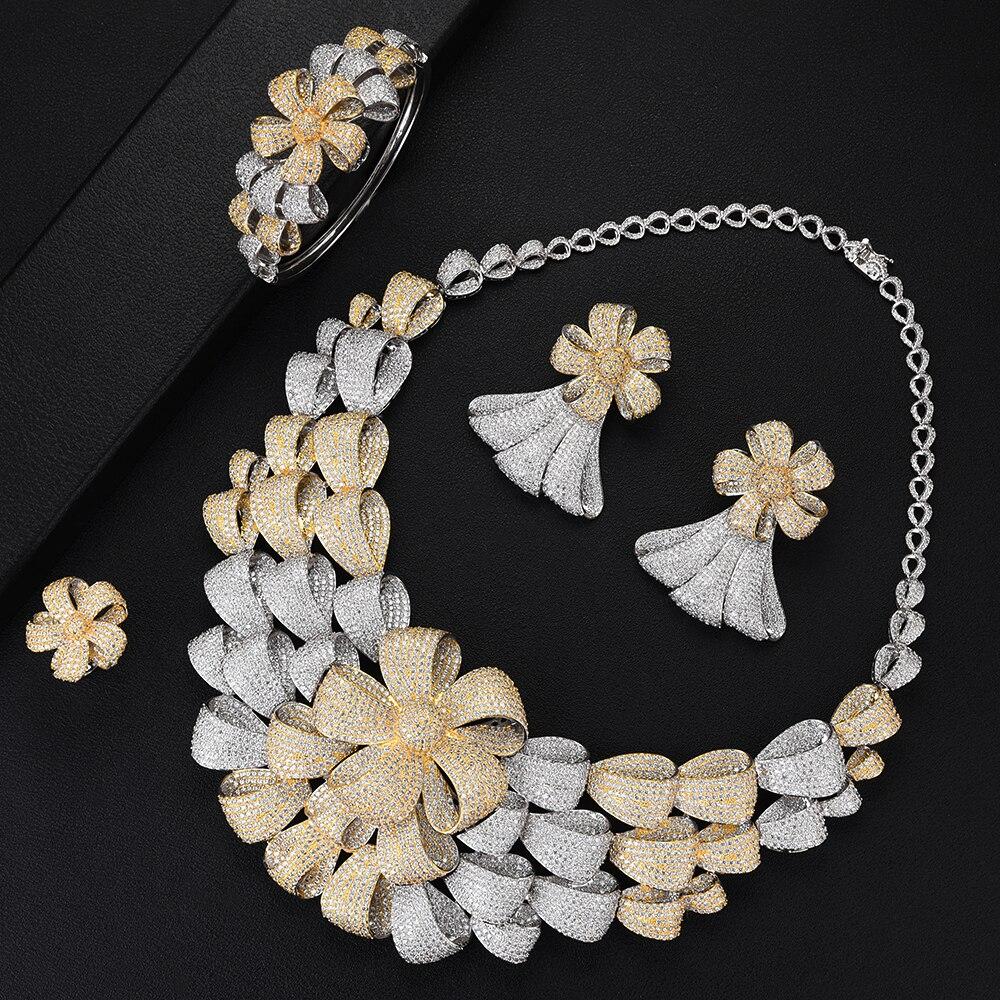 SisCathy luxe fleur bicolore ensembles de bijoux femmes mariage cubique zircone Dubai or collier boucles d'oreilles bracelet anneau ensembles de bijoux