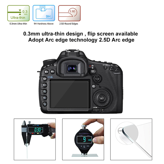 PULUZ Screen Protector For Canon 5D Mark III IV EOS 6D 7D Mark II 100D/M3 EOS 200D 650D 1200D SX600 G7X Tempered Glass LCD Film