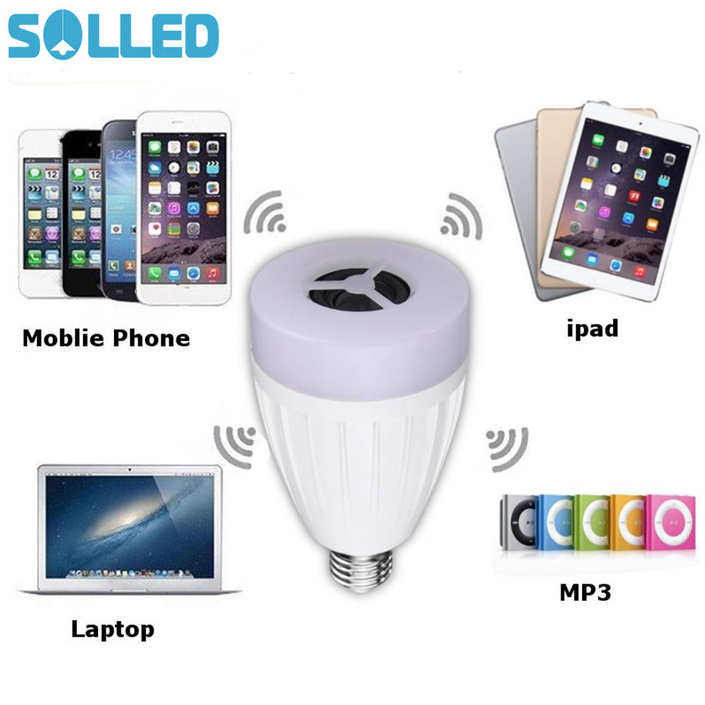 SOLLED E27 APP Remote Control Multi Colors Change LED Smart Light Bulb Bluetooth Speaker Music Play TH