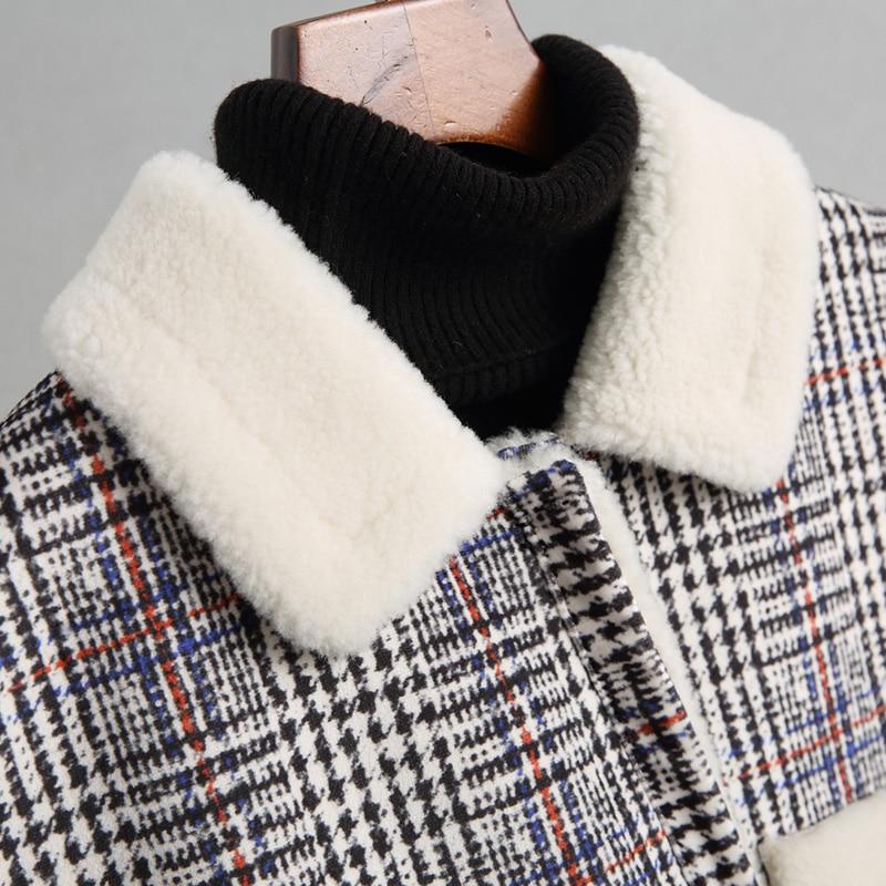 Ayunsue Les Femelle Hiver Courtes 2018 White Fourrure Femmes Portent Manteaux Black Grid Épaisse Mode De Deux Laine Agneau Plaid Wyq1687 Manteau Pardessus Côtés Automne Pour And rSvqrwaY